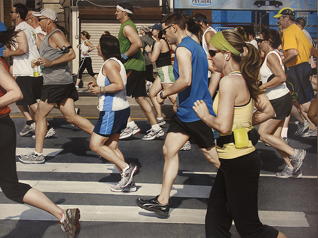 "Broad Street Run, oil on panel, 30""x40"", 2014"