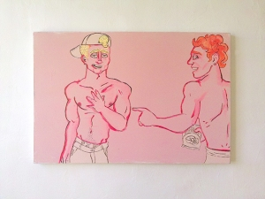 """""""Friends"""" Acrylic paint and sumi ink 36x24"""" 2013"""