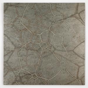 """Surface Tension 22"" Quartzite, copper, graphite, bronze, zinc, nickel, wax. 24′′ x 24′′ 2013"