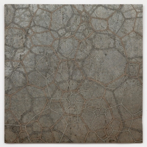 """Surface Tension 26"" Quartzite, graphite, pewter, copper, bronze, zinc, nickel, wax. 24′′ x 24′′ 2014"