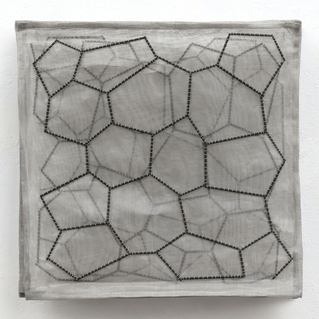 """Surface Tension: Basalt Layers"" Acid-etched glass rods, silver wire, stainless-steel mesh. 10"" x 10"" x 2"" in 12"" x 12"" x 2"" birch shadowbox (not shown). 2010"