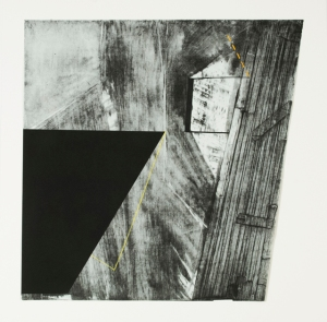 I-90, Serigraphy, monoprint, mixed media, 28inch x 28inch, 2013