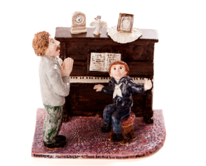 """From the Lost Milwaukee Series, 2011 - The Child Liberace Meets the Great Paderewski: """"Someday this boy may take my place!"""", Ceramic Sculpture 18 x 14 x 9 inches"""