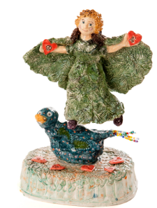 From the Loose Cannon Series, 2013  - Balancing Act: Spirit of Pine with Duck Disguised as the Bluebird of Happiness , Ceramic Sculpture, 16 x 11 x 9 inches