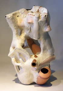 """Co-Host"" Ceramic, metal, glass, paper, clay 7.5x8x6"" 2013"