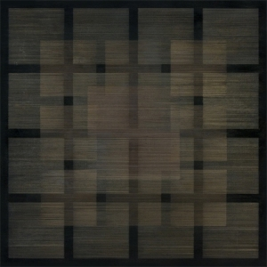 Polyphony I, 2013, 30x30in. Silver/gold/copperpoint, black gesso on panel