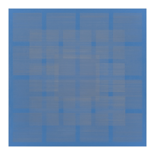 Polyphony VI, 2013, 16x16in, silver/gold/copperpoint, cerulean blue gesso on panel