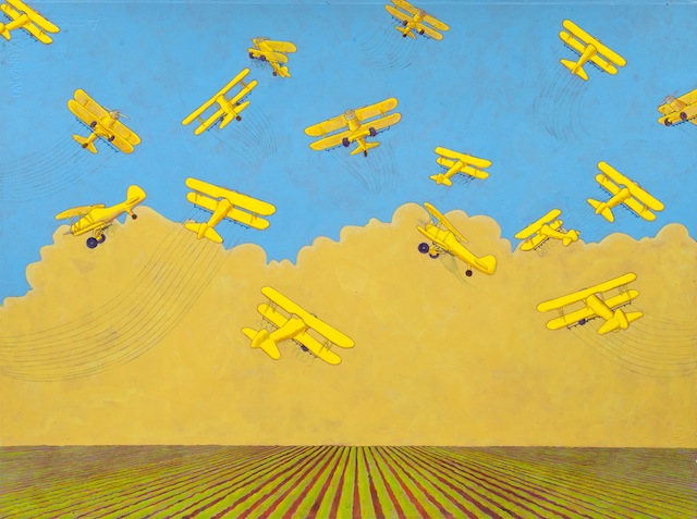 """Crop Dusters"", acrylic on paper, 22"" x 30"", 2012"