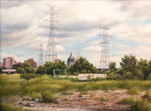 """View toward Basilica, Minneapolis"", 2014, oil on panel, 18"" x 24"""