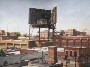 """View toward Wrigley Billboard from Mendell Street studio, Chicago"", 2013,  oil on panel, 11.5"" x 15.25"""