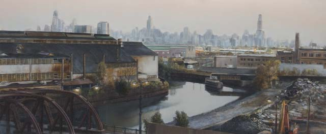 """View toward Chicago River and Skyline from Mendell Street studio, Chicago"", 2013, oil on panel, 9.6"" x 20.75"""
