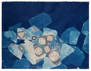Becoming, cyanotype, gouache, colored pencil, 2014