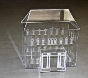 """Mason House."" Laser-cut plexiglass, Venusta Orchard Spider, webs. 17"" x 13"" x 17."" 2013."