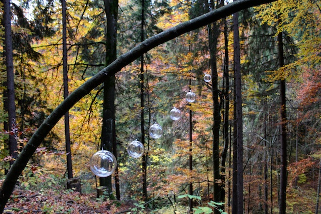 """Orbs."" Glass orbs, monofilament, European Garden Spiders, webs. Size variable. Located in Kesselfall, outside of Graz, Austria. 2013."