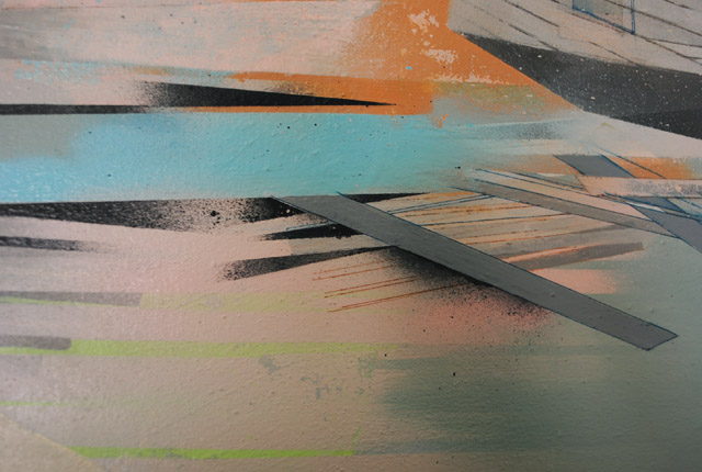 "Detail (February), acrylic and spray paint on canvas, 36"" x 42,"" 2014"