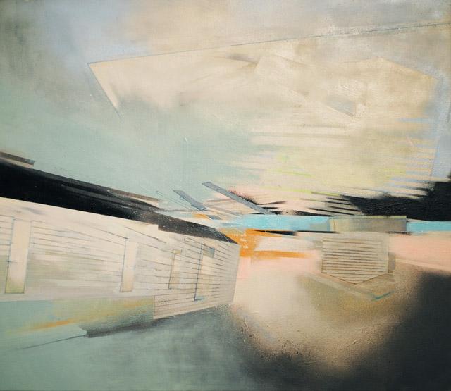 """February, acrylic and spray paint on canvas, 36"""" x 42,"""" 2014"""