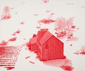 """House of Sticks"" Ballpoint Pen on Paper 23"" x 28"" 2013"