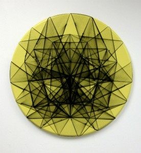 "Symmetrix Yellow, hairnets, nails on wood panel, 36"" diameter, 2013"