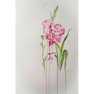 """Last Gladiolus""  watercolour and graphite on paper, 22""x30"", 2013"