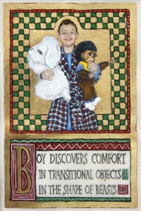 "Boy Discovers Comfort in Transitional Objects in the Shape of Beasts Egg Tempera and gold leaf on vellum 8"" x 5 5/8"" 2011"