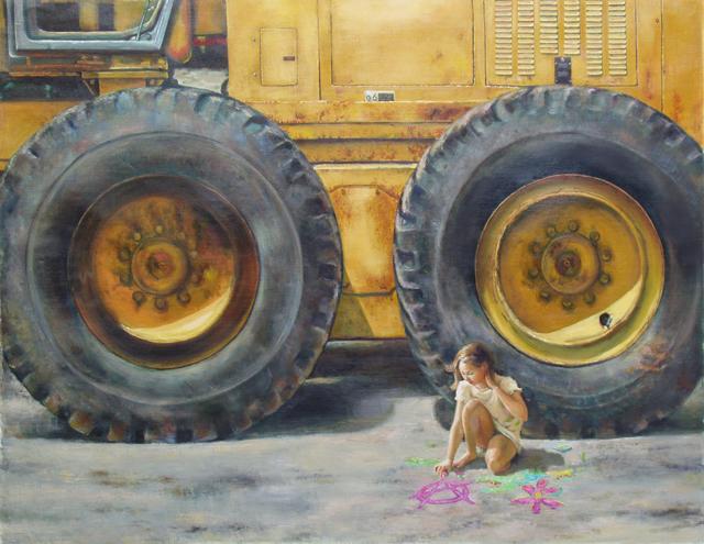 "Big Wheel 52""h x 38""w, Oil on linen, 2014"