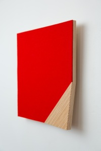 """Corner Fold,"" 2013, Baltic Birch Plywood, Wool Felt, 11.5"" x11.5"" x 1/2"""