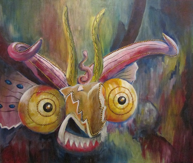 """Diablado"" acrylic on wood, 48x48"", 2014"