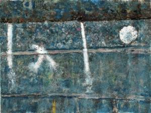 Fondale XXII mixed media on paper 15×21 cm, 2014