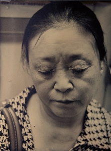 """Subway Sleeper 1"", from the series Subway Sleepers, Beijing 8""x10"" Tintype (photograph on blackened aluminum) 2014"