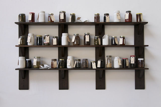 Shelves & Canning Jars, 1982-2014, Installation Piece from Way Back on the Shelf, 6ft x 3ft