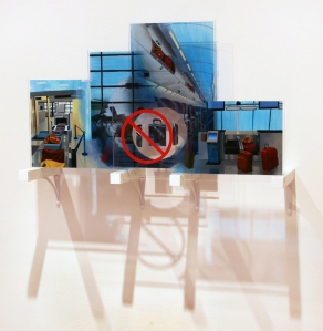 "Checked, 2012. Mixed media on plexiglass, four panels, 23"" x 38"" x 11"""