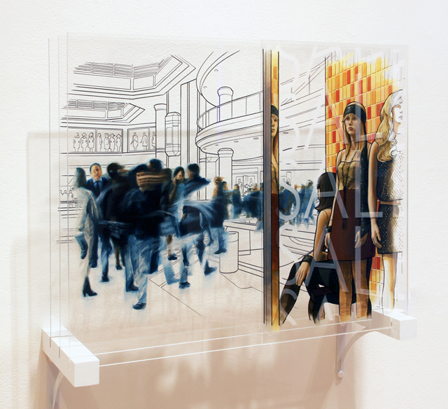 "Golden Calf, 2012. Mixed media on plexiglass, three panels, 20"" x 24"" x 9"""