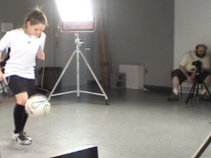 "Filming a soccer player for ""After Muybridge, After Marey"""
