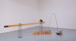 What Man Builds, Man Can Confuse: Limitations wood, steel, string, paint, velvet, stick, stone, yellow tool dip installation view, 12 ft at longest dimension 2014