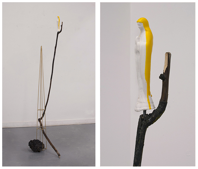 A Matter of Perspective (Canary Mary) painted steel, chuck of asphalt, stick, plaster, & yellow tool dip 5ft10in x 2ft x 10in 2013