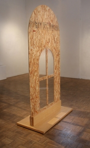 "A Vast New Wilderness of Glass  particle board, plexiglass, bolts, furniture grade maple 84"" x 48"" x 30"" 2012"