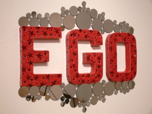 "EGO, 2014, slip cast earthenware & mirrors, 28"" x 2"" x 24"""