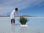 PlantBot Genetics Co-Founder Wendy DesChene with Monsantra PlantBot at Great Saltt Lake in Utah