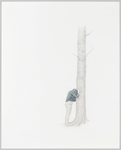 """The Tree #1, silverpoint and watercolor on prepared paper, 28.75"""" x 23.25"""", 2011."""