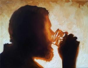 """Matt Drinking Water. Oil on canvas. 2014©. 16"""" x 20"""""""