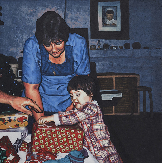 "Christmas Presents, Oil on Panel, 10""x10"", 2013"