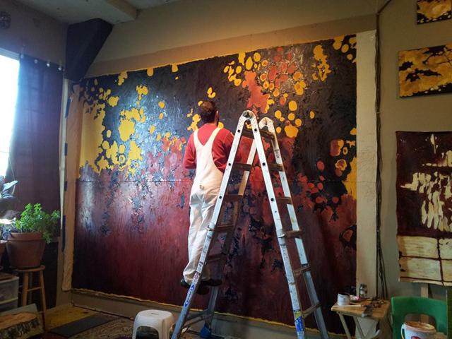 Working in Studio on Tree Shadow