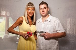 Lisa and Pat, Smith & Wesson 642.38 special. 2012 from Conceal Carry photograph, 30x20""