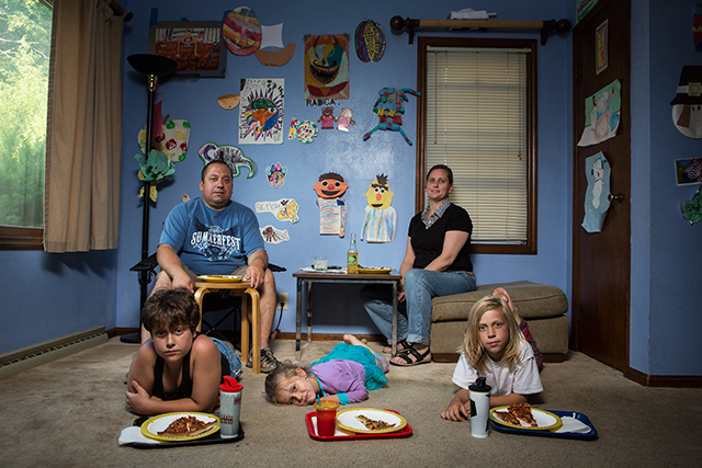 Wednesday: Emilio, Rhonda, Benedetto, Skylrae, Jacomo. 2014 from Weeknight Dinners  photograph, 30x20""
