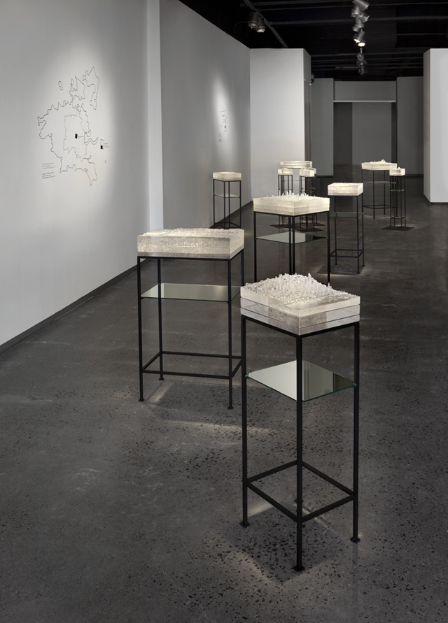 Mining Industries: Installation View, 3D printed patterns, kilncast glass, fabricated steel, and vinyl cut drawings, dimensions variable, 2014.  Photo: Cathy Carver