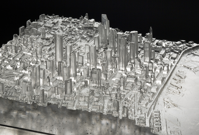"Mining Industries: Downtown Seattle (detail), 3D printed pattern, kilncast glass, fabricated steel, and vinyl cut drawings, 38"" x 14.5"" x 17.25"", 2014. Photo: Tim Thayer/Robert Hensleigh"