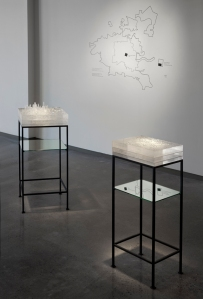 Mining Industries: Houston Installation View (detail), 3D printed patterns, kilncast glass, fabricated steel, and vinyl cut drawings, dimensions variable, 2014.  Photo: Cathy Carver