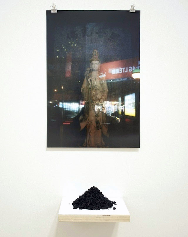"Detail: Untitled (Kwan Yin), 2014, photographic print, earth and shelf, 5 1⁄2' x 12"" x 6"""