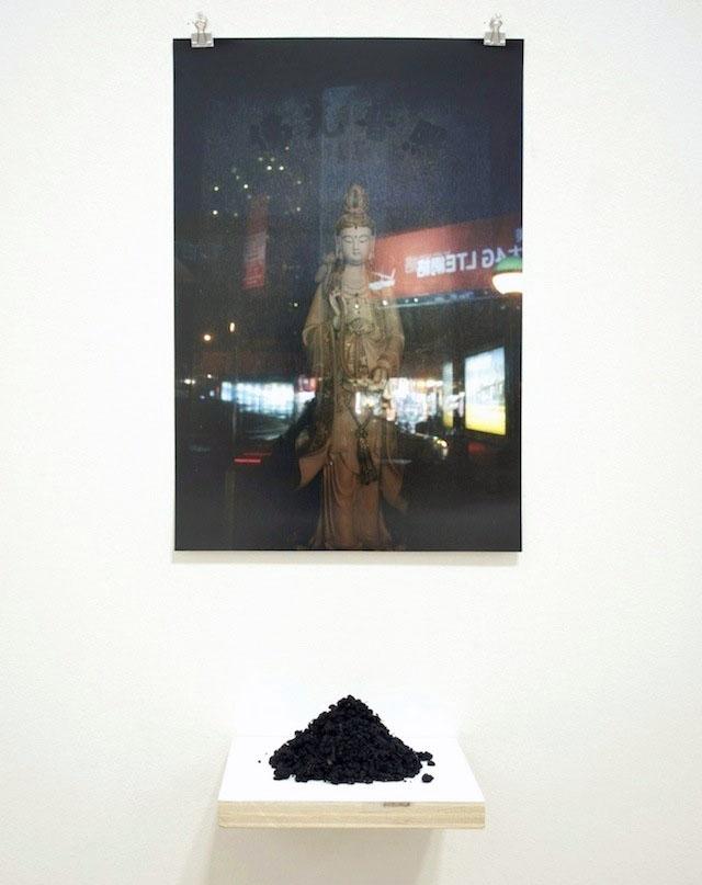 "Detail: Untitled (Kwan Yin), 2014, photographic print, earth and shelf, 5 1⁄2' x 12"" x 6"""