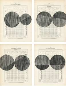 """Tiny Little"" series pairs of woodblocks on 1920s navigational charts 8.75 x 11"" each, unique impressions 2014"